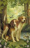 Beagles And Duck Art Print