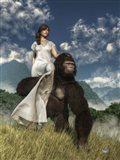 Ape And Girl Art Print