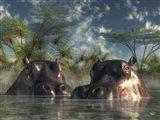Hippos Coming To Get You Art Print