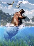 Lunging Hippo Art Print