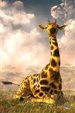 Sitting Giraffe Art Print
