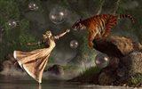 Surreal Tiger Bubble Water Dancer Art Print