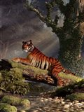 Tiger On A Log Art Print
