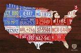 USA Flag Map Art Print