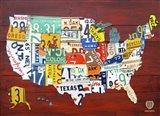 License Plate Map USA I Art Print