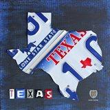 Texas License Plate Map Art Print