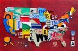License Plate Map USA III Art Print