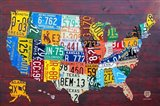 License Plate Map USA IV Art Print