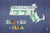 Massachusetts License Plate Map Art Print