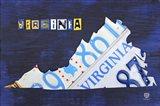 Virginia License Plate Map I Art Print