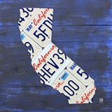 California License Plate Map - Blue Art Print