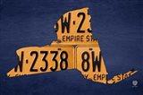 New York License Plate Map Art Print