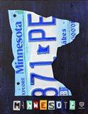 Minnesota License Plate Map Art Print