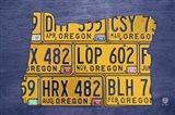 Oregon License Plate Map Art Print