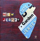 New Jersey License Plate Map Art Print