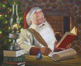 Santa Making A List Art Print