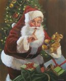 Santa With Teddy Bear Art Print
