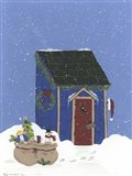 Blue Outhouse Art Print