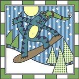 Max Cat Snowboard 1 Art Print