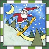 Santa Snowboard 3 Art Print