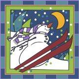 Coalman The Snowman Skiing 1 Art Print