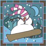 Coalman The Snowman Snowboarding 3 Art Print