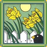 Daffodils 2 With Kernal The Crow Art Print