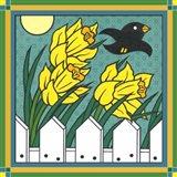 Daffodils 3 With Kernal The Crow Art Print