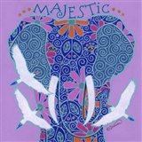 Elephant I (Majestic) with Cattle Egrets Art Print