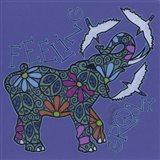 Elephant II (Feeling Groovy) with Cattle Egrets Art Print