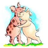 Hogs 'n' Kisses Art Print