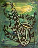 Blues Solo in Green Art Print
