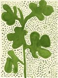 Green Leaf with Dots 1 Art Print