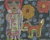 Girl With Fox Art Print