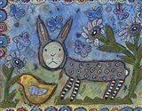 Rabbit With Chick Art Print