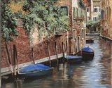 Barche Blu A Venezia Art Print