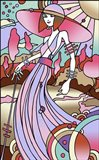 Art Deco Lady Stroll Art Print