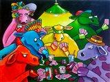 Cows Poker Art Print