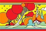 Red Tree Landscape Art Print