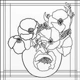 Poppy Bowl Lineart Art Print