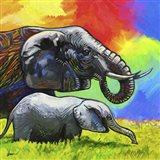 Elephant Pop Mom Cub Art Print