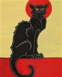 Black Cat Red Moon Art Print