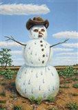 Snowman In Texas Art Print