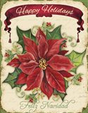 Happy Holidays - Pointsettia Art Print