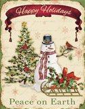 Happy Holidays - Snowman Art Print