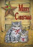 Cats in Barn - Merry Christmas Art Print