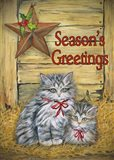Cats in Barn - Seasons Greetings Art Print