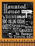 Haunted House Welcome Flag Outlines Art Print