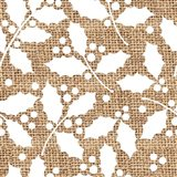 White Holly Branches Burlap Art Print