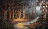 Firelight And Moonrise Art Print